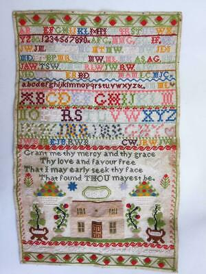 STUNNING LARGE ANTIQUE PICTORIAL NEEDLEWORK EMBROIDERY SAMPLER 1885 woolwork b
