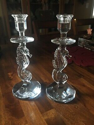 2 Waterford Crystal SEAHORSE Candlestick Candle Holders 11.5""