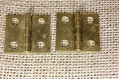 "2 OLD Cabinet door hinges solid brass small shutter NOS 1 x 1 1/16"" jewelry box"
