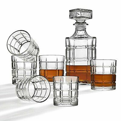 Whiskey Decanter And Glasses Bar Set, Includes Whisky Decanter And 6 Cocktail...