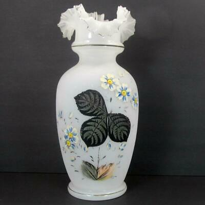 "Bristol Glass White Opaline Victorian Ruffled Double Crimp Top 14"" Vase"