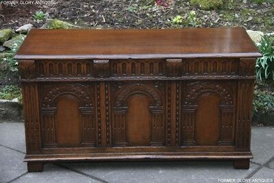 Titchmarsh And Goodwin Carved Oak Blanket Toy Box Rug Chest Trunk Coffee Table
