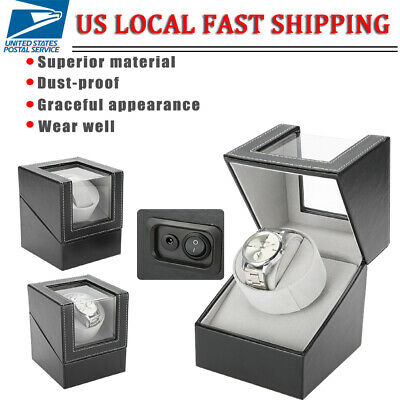 Black Automatic Rotation Leather Jewelry Watch Winder Storage Display Case Box