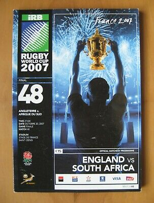 2007 Rugby World Cup Final ENGLAND v SOUTH AFRICA *VG Condition Programme*