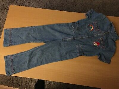 Jools Oliver Little Bird Retro Denim ZIP Front Jumpsuit 3-4 years