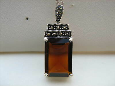 Lovely  Vintage Past Times Silver Silver Art Deco Amber Glass Marcasite Pendant