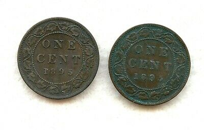 Canada  ~ 1895 ~ Large Cent Lot ~ F ~ 2 Coins