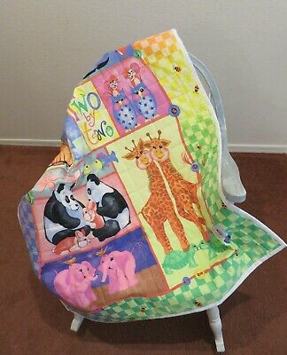 """Handmade Baby Quilt Comforter Noah Two By Two Yellow 34"""" X 44"""""""