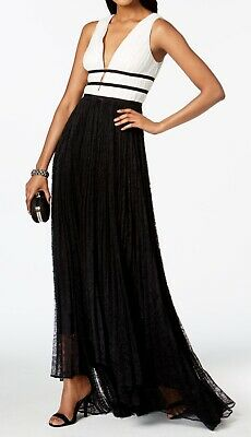 Adrianna Papell Women's Black Size 4 Colorblock Lace Gown Dress $279- #319