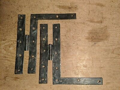 Pair of Original Antique H.L Hinges~Plank Door~Blacksmith Made~Hand Forged~
