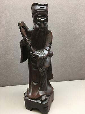 Carved Wood Asian Bearded Man Holding an Instrument Chinese Large Approx 12""