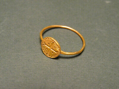 Byzantine Gold Ring Cross & Wreath Design 500-700 Ad