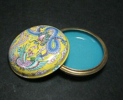 Chinese Copper Delicate Hand Painted Dragon Phoenix Design Box