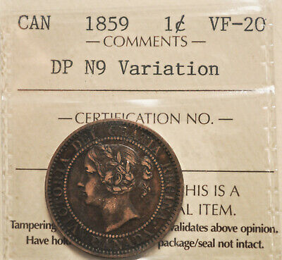 1859 N9, DP, Canada One Cent ICCS VF-20