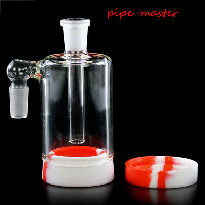 22ml Silicone Container 14mm Glass Ash Catcher Bowl Shisha Hookah Bong 90 Degree