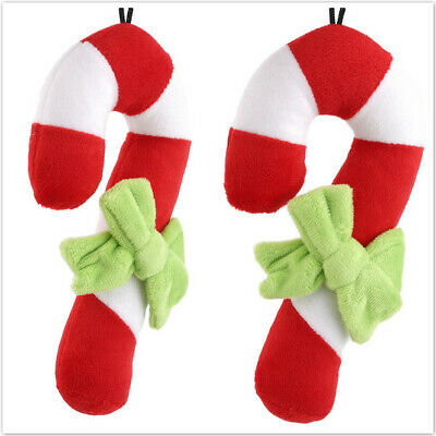 Christmas Candy Cane Pet Dog Puppy Doggy Chew Squeeze Play Training Toys GD