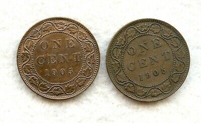 Canada  ~ 1905 ~ Large Cent Lot ~ Vf ~ 2 Coins
