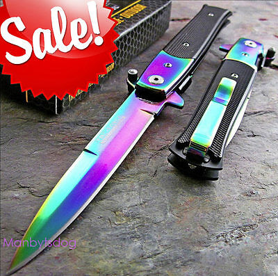 Tac-Force Fast Assisted-Opening Rainbow Spectrum Stiletto Speedster Knife NIB!