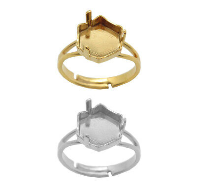 Brass Adjustable Ring Bases for 4683 Fantasy Hexagon 10x11.2mm Fancy Crystals