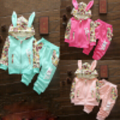 Toddler Baby Boy Girl Outfits Cute Rabbit Hooded Print Sweatshirt+Pants Kids Set