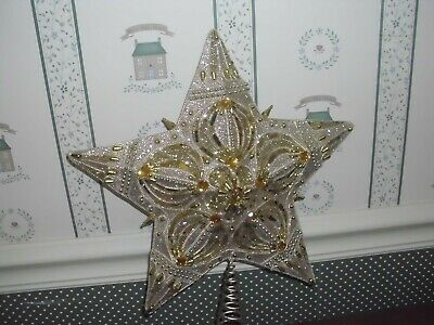 "Kurt Adler-Christmas 13.5""-5 Point Gold Beaded Star  Tree Topper-New-2019"