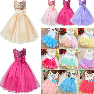 Kids Princess Tutu Dress Girls Baby Formal Wedding Bridesmaid Prom Party Dresses
