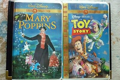 """VHS/VCR Walt Disney Gold Collection Films (2) Pixar """"Toy Story""""-""""Mary Poppins"""""""