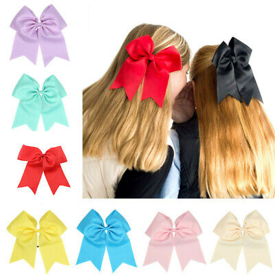 "8"" Clips Alligator Bows Large With Cheer 2Pcs Cheerleader Ribbon Hair Party Bow"