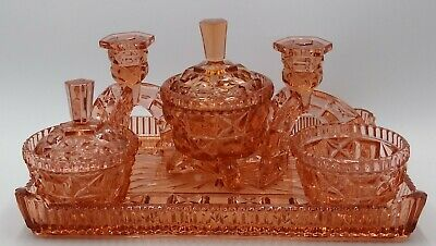 Vintage 1930s Art Deco Pink Pressed Glass Dressing Table Set 6 Piece Vanity Tray
