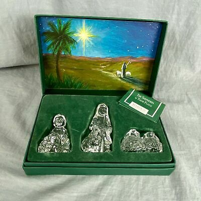 3 Piece Marquis Waterford Crystal Shepherds And Their Flock Nativity Collection