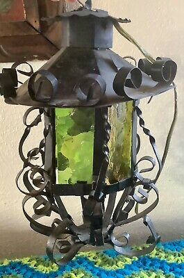 Vtg Gothic Spanish Wrought Iron revival Stained Glass Lantern lamp light
