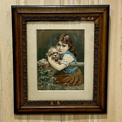 Antique Framed Print Little Girl with Maltese Dog - Guaranteed Old