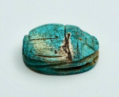 Antique Ancient Egyptian Carved & Turquoise Glazed Scarab Amulet 1 1/2""