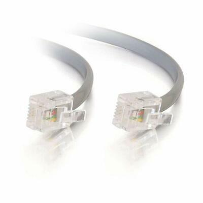 RJ12 6P6C Flat Modular Telephone Cable Gray CablesOnline T-6C15 15ft
