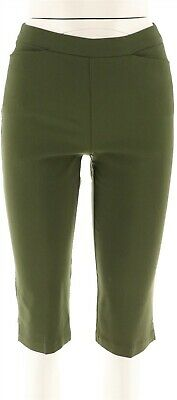 Susan Graver Ultra Stretch Pull-on Pedal Pushers Pockets Pesto L NEW A254358