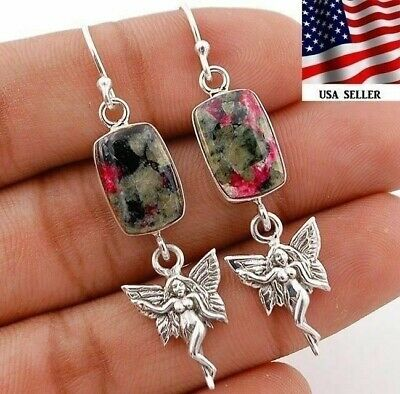 Fairy Russian Eudialyte 925 Solid Sterling Silver Earrings Jewelry, Q19-2
