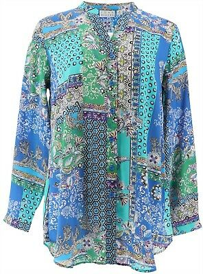Joan Rivers Patchwork Print Textured Blouse Turquoise Blue 8 NEW A366232