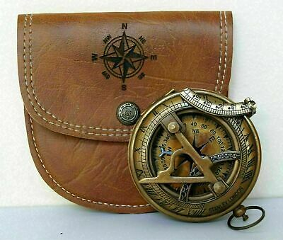 Nautical Antique Brass Marine Stanley London Pocket Sundial Compass with case