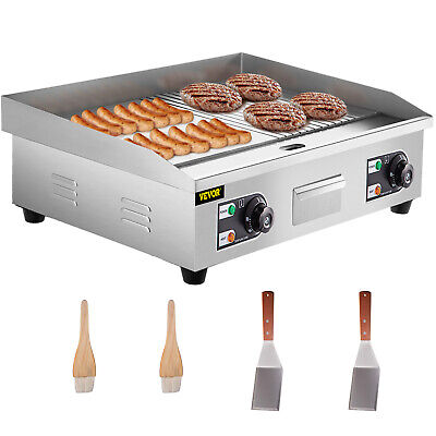 """Commercial Griddle Grill Electric Grill Grooved and Flat Top Grill Combo 30"""" SUS"""