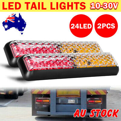 2PCS 12/24V 24 LED Tail Lights Lamp Kit Trailer Boat Truck Caravan Waterproof