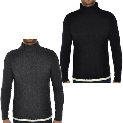 Soul Star Mens Cable Knitted Polo Roll Turtle Neck Jumper Sweater Top
