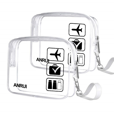 2pcs/Pack ANRUI Toiletry Bag with Strap, TSA Approved Carry On Airport Airline