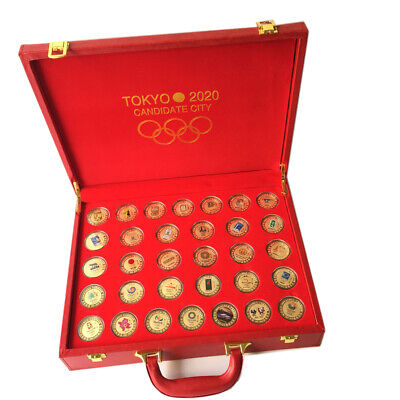 32 Pcs Tokyo 2020 Olympic Games Previous Olympics Emblem Gold Coins With Box