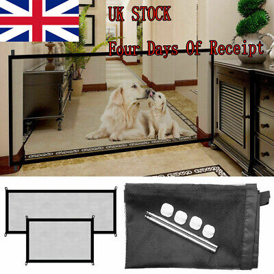 HOT Pet Dog Safety Gate Stair Guard Baby Enclosure Folding Net Magic Mesh Fence