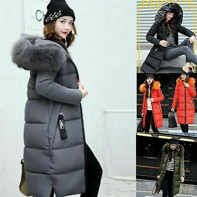 Women Warm Winter Coat Quilted Puffer Fur Down Hooded Ladies Long Parka Jacket