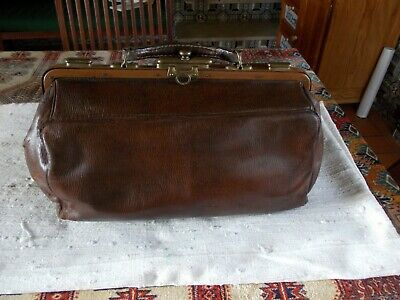 Original antique French Leather & brass small doctor's / Gladstone bag