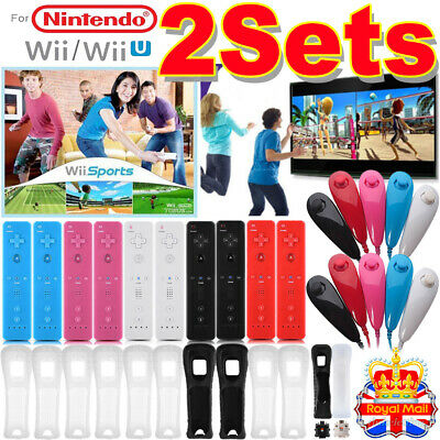 REMOTE CONTROLLER and NUNCHUCK FOR NINTENDO WII & WII U + SILICONE Case + STRAP