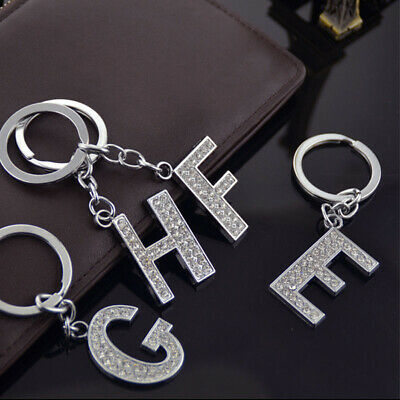 Bling Crystal Sparkly Alphabet Keyring Initial Letter Key Ring Chain Keychain/_TR
