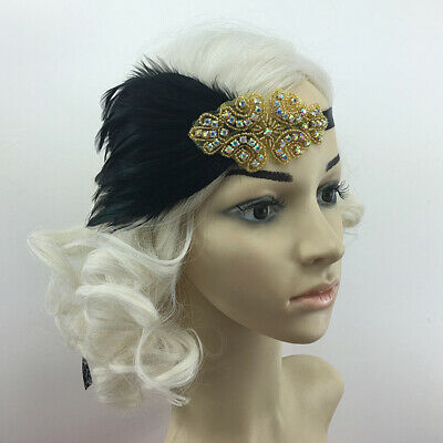 Gastby Retro Wedding 1920s Flapper Black Head Band Piece Feather Facinator