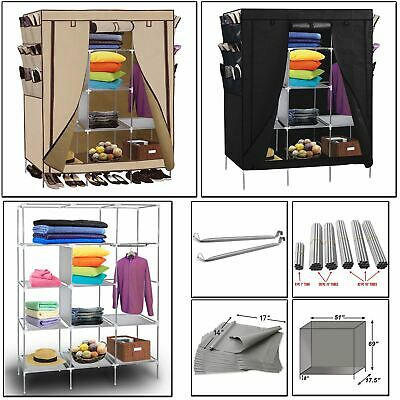 Canvas Wardrobe Storage Clothes Hanging Rail Fabric Hanging Cupboard Shelves